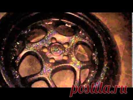 Disk in liquid Plasti Dip rubber in the dark