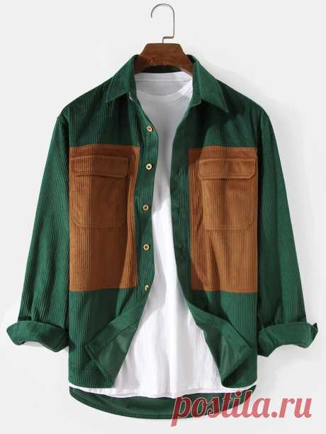 Banggood Design Mens Corduroy Solid Color Patchwork Double Pocket Long Sleeve Ca - US$22.99