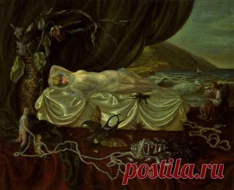 Серия из 7 картин о принцессе Диане. Смерть. Хослт,масло. 50х60см.
