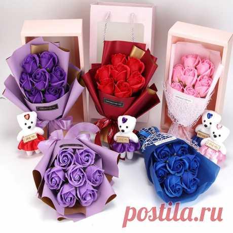 роза, Подарочная коробка, букет, мягкий медведь, жены, подарок, искусственные цветы, День Святого Валентина, День рождения, вечеринка Искусственные и сухие цветы