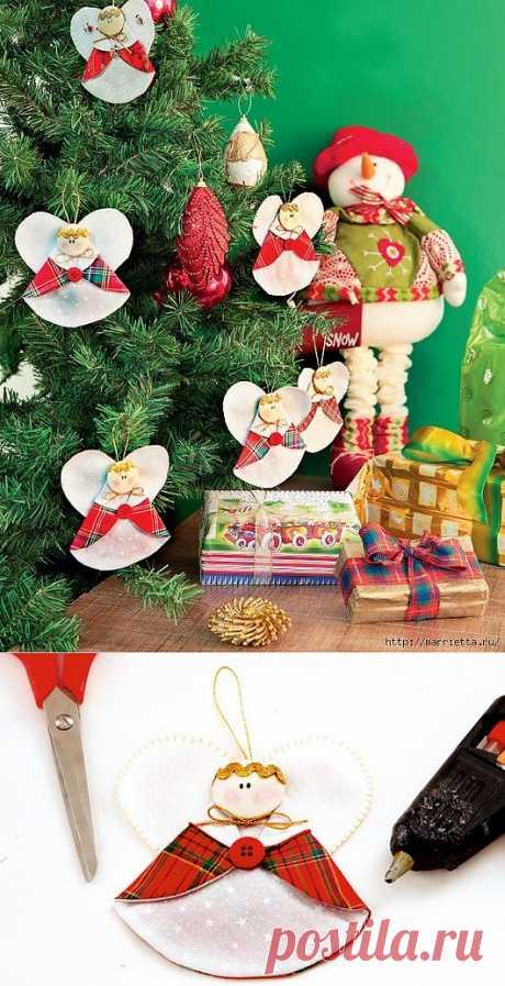 Рождественские АНГЕЛЫ - текстильные игрушки для елочки.