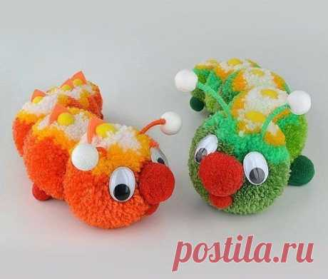 Очаровательные игрушки из помпонов! - Эфария Очаровательные игрушки можно сделать из помпонов. Идеи для вдохновения  источник