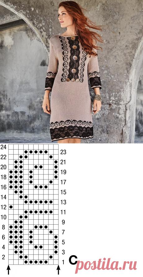 Платье с кружевными аппликациями - схема вязания спицами. Вяжем Платья на Verena.ru