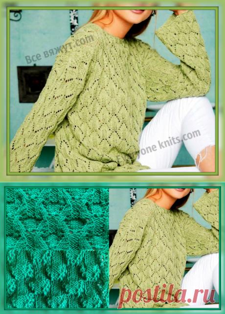 "Джемпер оверсайз спицами ажурным узором ""Стрелы"" | Все вяжут.сом/Everyone knits.com | Яндекс Дзен"