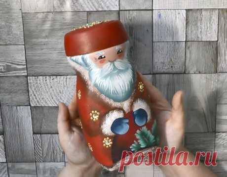 DIY: Дед Мороз из кофейной банки   Творчество и искусство   Яндекс Дзен