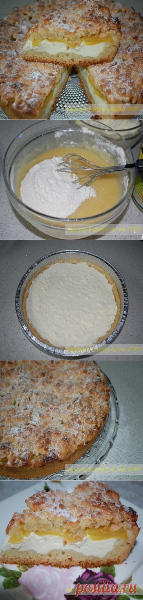 Пирог из песочного теста с творогом и абрикосами/Сайт с пошаговыми рецептами с фото для тех кто любит готовить