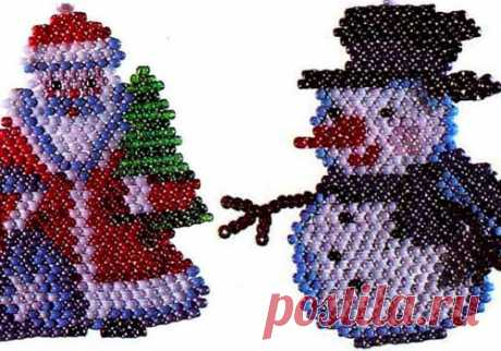 Брелки из бисера: Снеговик и Дед мороз