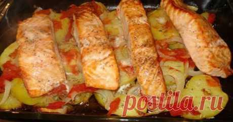 ¡Un de los platos más sabrosos de pez, que probaba — el Salmón cocido con las patatas | Preparamos es sabroso!