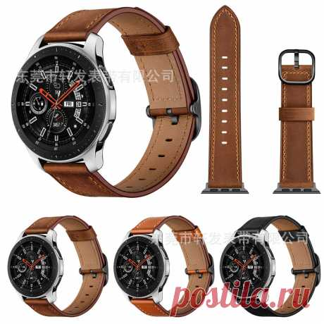 Bakeey 22mm First Layer Genuine Leather Replacement Strap Smart Watch Band for S - US$13.99