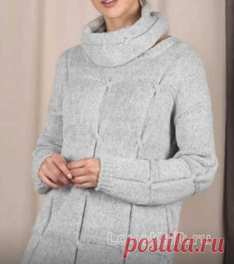 Свободный пуловер с узором из квадратов и съемный воротник схема спицами