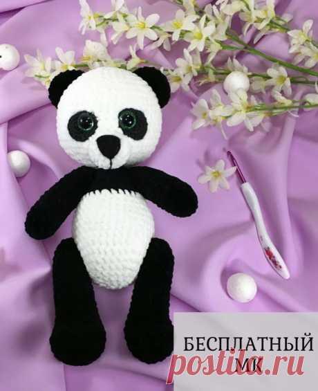 """Скачать бесплатный мастер-класс по вязанию крючком """"Плюшевая панда"""" от LanaMi toys. Бесплатная схема вязания крючком плюшевой пандочки. Очень простая и подробная схема вязания крючком. Скачать бесплатно схему вязания крючком pdf/"""