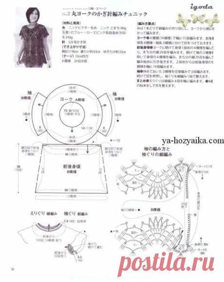 Платье на круглой кокетке крючком. Платье-туника с круглой кокеткой крючком.
