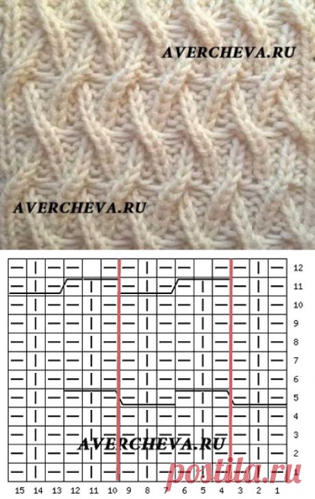 Узор спицами 972 « Необычная плетенка 2»   каталог вязаных спицами узоров