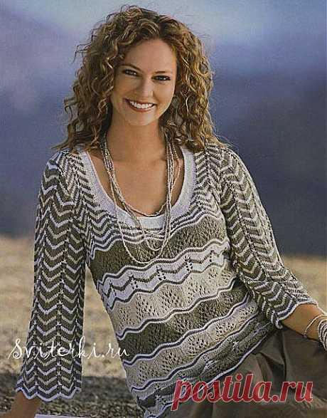 Полосатый узорчатый вязаный женский свитер