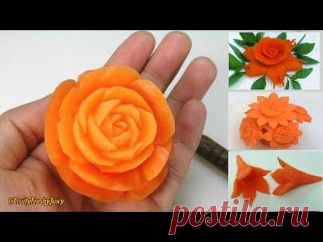 4 Beautiful Carrot Flower Garnishes | Salad & Food Designs for Hotel & Restaurant