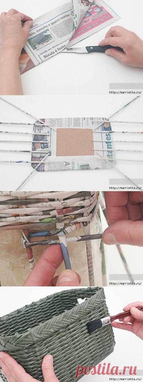 Плетение из газетных трубочек. Корзинка для полотенец в ванную / Плетение из газет, поделки из газетных трубочек - мастер классы для начинающих, видео / КлуКлу. Рукоделие - бисероплетение, квиллинг, вышивка крестом, вязание