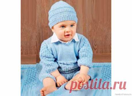 Голубой комбинезон и шапочка для новорожденных | Вязание спицами для детей Очаровательный комбинезон и шапочка для новорожденных связаны спицами из мягчайшей пряжи.Размеры:80 (обхват груди - 52 см, обхват головы - 43-47 см)Материалы:пряжа Mondial Extrafine (100% шерсти: 175 м/50 г) -200 г (для комбинезона) и 50 г (для шапочки) голубой (№ 80): спицы № 3 и 3.5; 8...