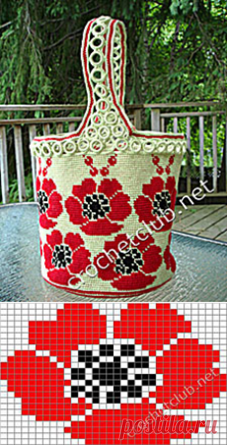 "Jacquard handbag \""Poppies\"" - Knitting by the Hook. Nastik's blog"