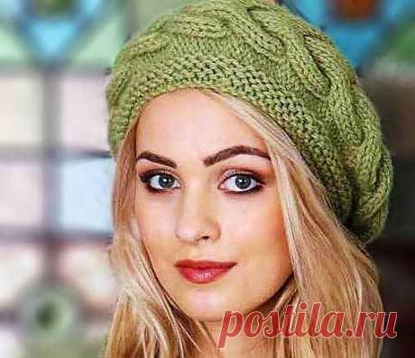 Берет спицами с эффектной поперечной косой | Вязание Шапок - Модные и Новые Модели