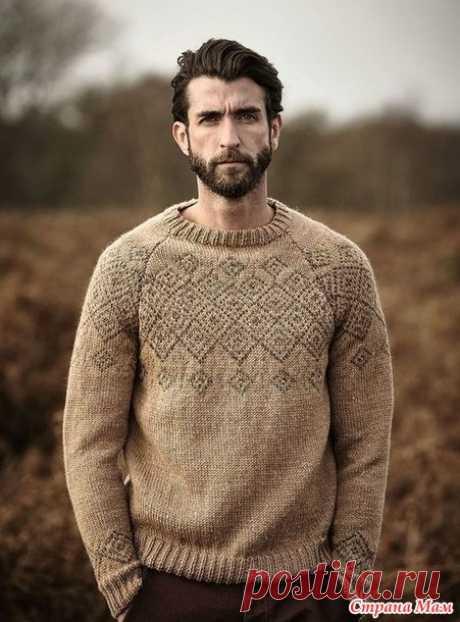 . Мужской пуловер-реглан с геометрическим жаккардовым узором - Вязание - Страна Мам