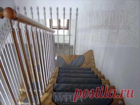 Лестницы, ограждения, перила из стекла, дерева, металла Маршаг – Нержавеющие ограждения лестницы деревянной