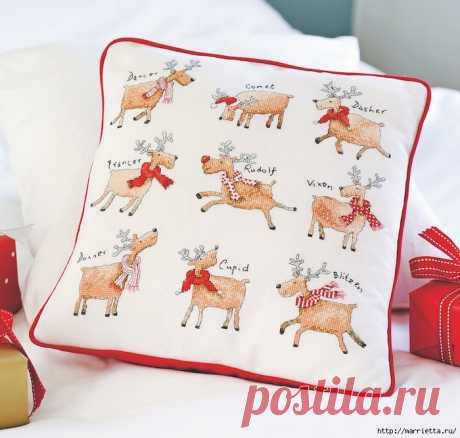 Рождественские олени на подушке. Схемы вышивки крестом