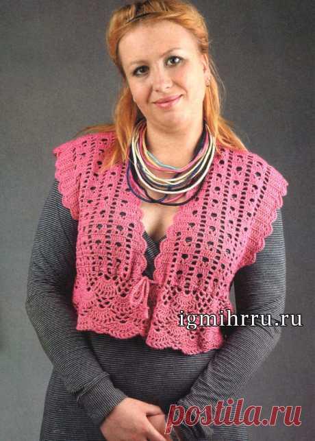 Для полной дамы: болеро-жакет из микрофибры. Крючком. / igmihrru.ru