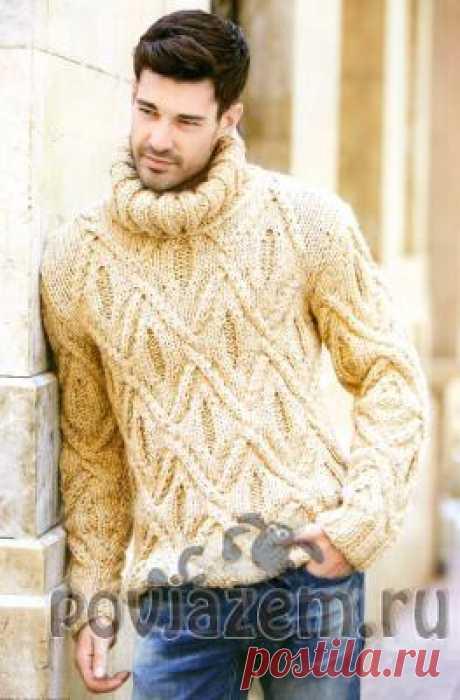 Рельефный мужской свитер спицами
