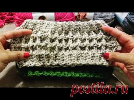 Diadema Punto Waffle a Crochet (ganchillo)
