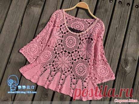 . A pink blouse from motives from Katia Ribeiro - All in openwork... (knitting by a hook) - the Country of Mothers