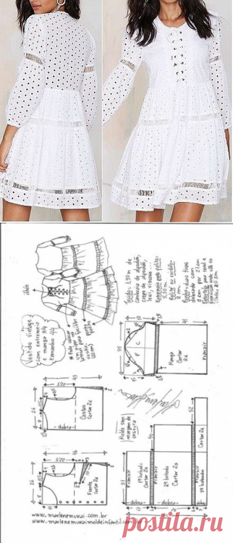 Sewing ✂ Patterns. Pattern of a summer romantic dress