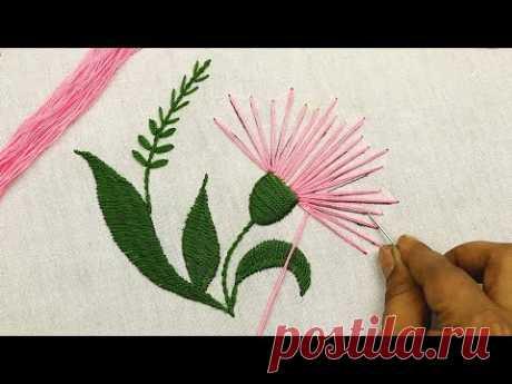 современная цветочная вышивка с очень легкой вышивкой стежками для начинающих