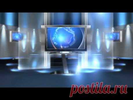 free virtual news studio background virtual set blue long HD