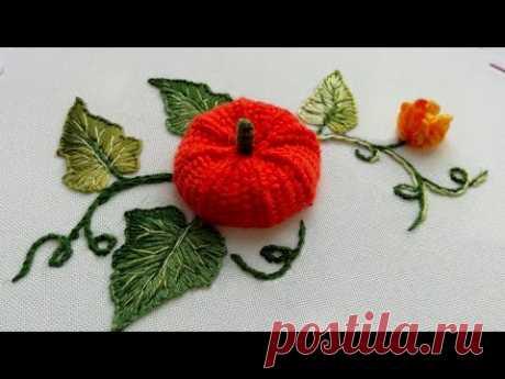 Amazing Embroidery 3 D * Stumpwork Pumpkin * How to embroider a pumpkin #malina_gm