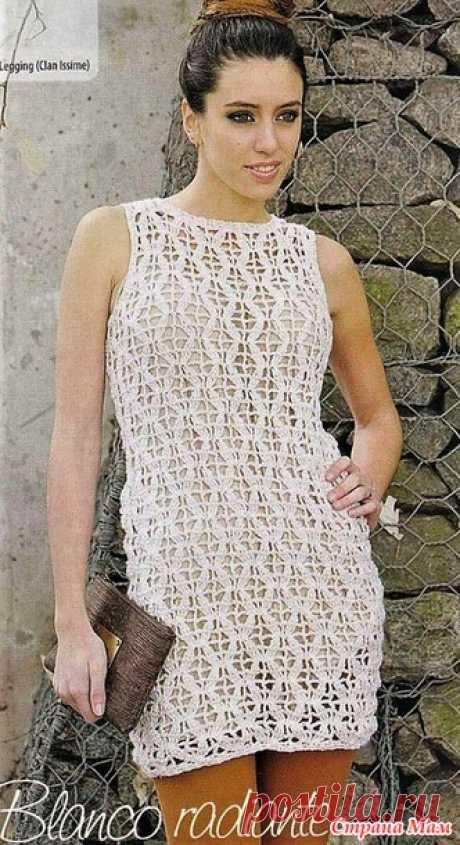 Белое мини-платье с узором ажурные ромбы - Все в ажуре... (вязание крючком) - Страна Мам