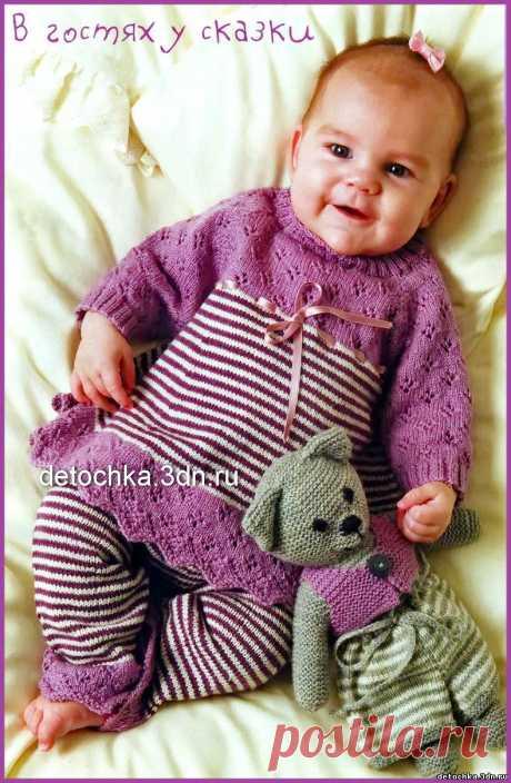 """Вязаный комплект для новорожденных """"Маленькая леди"""" - Вязание комплектов и комбинезонов для новорожденных - Вязание малышам - Вязание для малышей - Вязание для детей. Вязание спицами, крючком для малышей"""