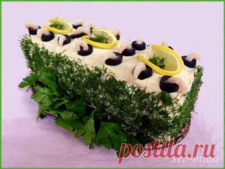Закусочный торт из морепродуктов