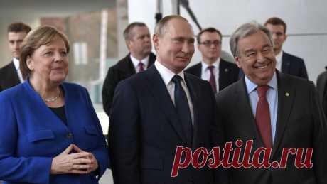 Путин, Меркель и генсек ООН пообщались в Берлине на русском - Новости Mail.ru