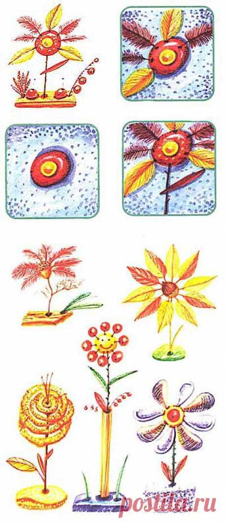 Природный материал. Ягодки - цветочки