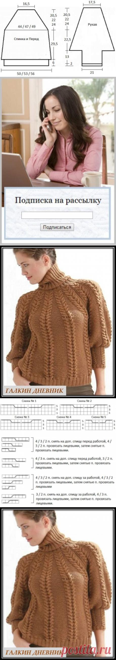 ГАЛКИН ДНЕВНИК : Теплый пуловер с косами