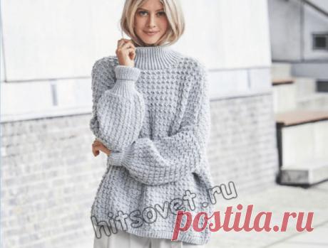 Модная модель женского свитера оверсайз с пошаговым описанием вязания (Вязание спицами) – Журнал Вдохновение Рукодельницы