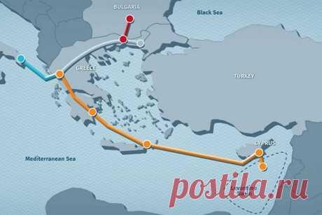 Израиль собирается поставлять газвЕвропу через Кипр иГрецию. Пока этому мешают низкие цены Израиль может стать крупным поставщиком газа встраны Европы— если будет построен Восточно-Средиземноморский трубопровод изместорождения Левиафан вСредиземном море.