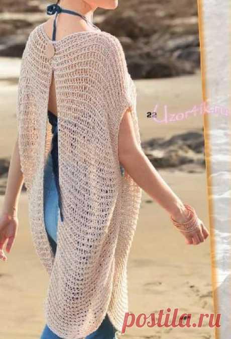 Связанный поперек пуловер с открытой спиной - Описание вязания, схемы вязания крючком и спицами | Узорчик.ру