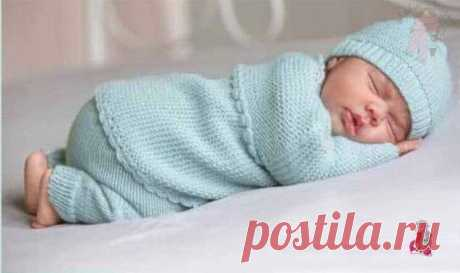 #вязание_для_детей@modnoe.vyazanie Костюмчик для новорожденного.  РАЗМЕРЫ: 50/56 (62/68) Отличающиеся данные для большего размера приведены в скобках. Если указано только одно число, оно относится ко всем размерам. Показать полностью...