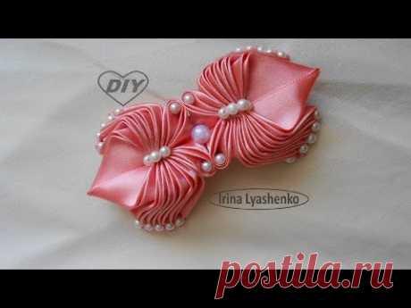 Бант из атласной ленты МК/DIY Satin Ribbon Bow/PAP Laço de fita de cetim#206