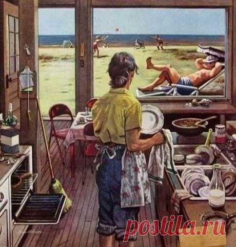 """Моя бабушка говорила: """"Не позволяй своим сковородкам сиять ярче себя... Не относись к уборке дома так серьезно!""""  Когда я стала женой, я тратила, как минимум, 16 часов в день, наблюдая за тем, чтобы всё было чисто, на случай, если ''кто придёт ко мне"""", но потом после слов своей бабушки, я обратила внимание, что все те, для кого я так старалась быть """"образцовой хозяйкой"""", очень заняты. Они гуляют, отдыхают, веселятся, работая, и радуются жизни, никому ничего не объясняя!. А..."""