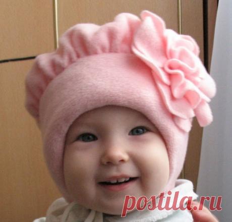 Выкройка весенней шапочки из флиса для маленькой девочки (Шитье и крой)   Журнал Вдохновение Рукодельницы