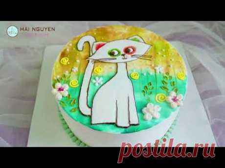 Cách làm một chiếc bánh vẽ mèo con xinh xắn   How To Make Painting Cute Cat Cake