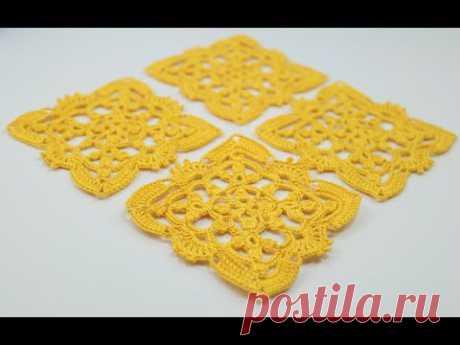 АЖУРНЫЙ КВАДРАТНЫЙ МОТИВ вязание крючком мастер-класс How to Crochet square motif схема вязания