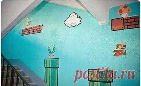 Марио в подъезде / Городская среда (граффити, снеговики, ets) / ВТОРАЯ УЛИЦА